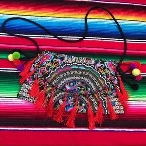 Embroidered Tassel / fringe Bohemian Shoulder Bag